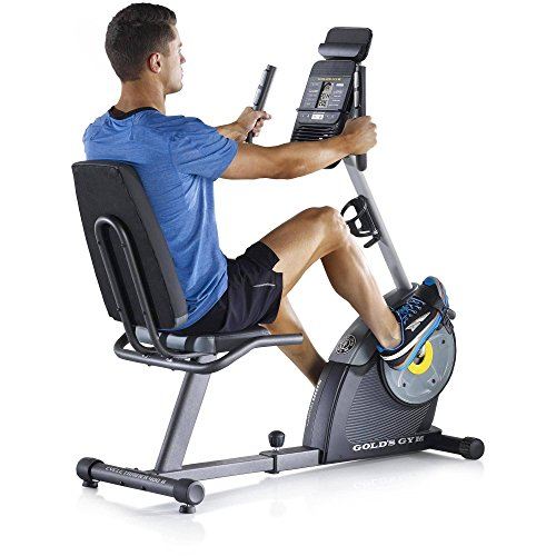 Gold's Gym Cycle Trainer 400R Exercise Recumbent Bike Tablet Holder FAN 16 workout Apps