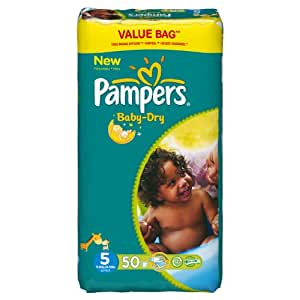 Pampers Baby Dry Couches Junior 11-25 kg Taille 5 Format Economique x 50