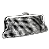 White on Black Crystals Stunning Rhinestone Closure Frame Soft Mesh Clutch Evening Baguette Shoulder Bag Handbag Purse w/2 Chain Straps