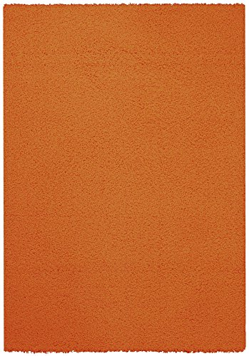 Orange Shag Area Rug 5'x7' Single Solid Color Maxy Home Collection BEL2751