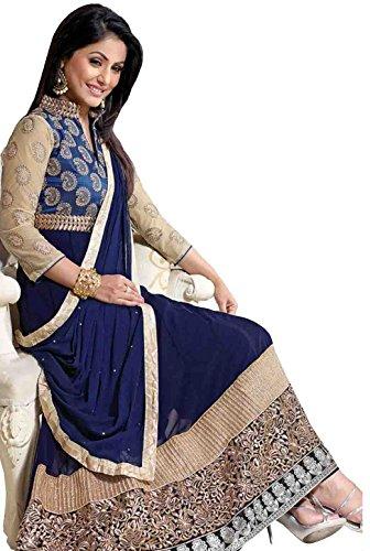 Fab Glory Women's Blue Semi-Stitched Georgette Wedding Anarkali Dress Material