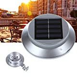 DBPOWER Silver 3 LED 6000-7000K Outsunny LED Solar Powered Outdoor Gutter / Fence / Wall Light - Cool White light