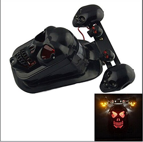 Dashuhuwai Motorcycle Skull Brake Tail Light Lamp Universal Fit For Bikes/ Suzuki Motorcycle /Curiser / Touring And Custom Applications, Fit Most Of The Bike, Motorcyle, Atv, Scooter, Curiser, Chopper, License Plate Holder Features A Dual High Intensity L