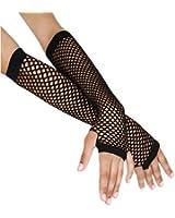 Long Black Fishnet Gloves