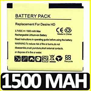EXTENDED 1500 mAh REPLACEMENT BATTERY FOR HTC DESIRE HD