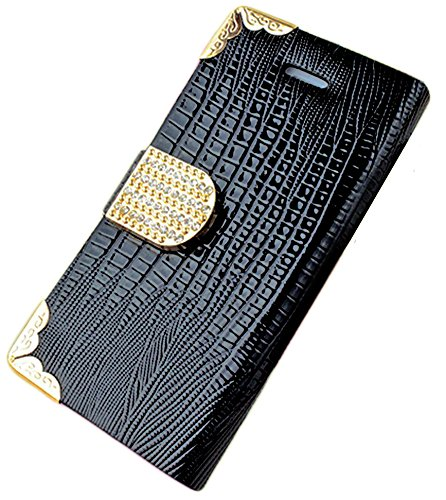 Mylife Black {Crocodile Skin And Buckle Design} Faux Leather (Card, Cash And Id Holder + Magnetic Closing) Slim Wallet For The Iphone 5C Smartphone By Apple (External Textured Synthetic Leather With Magnetic Clip + Internal Secure Snap In Hard Rubberized