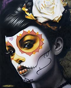 Victoria by Daniel Esparza Mexican Woman Sugar Skull Tattoo Canvas Art Print