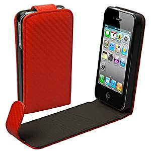 CUSTODIA IN ECO PELLE ROSSA PER APPLE IPHONE 4 4S CON PANNO INTERNO COLOR PANNA