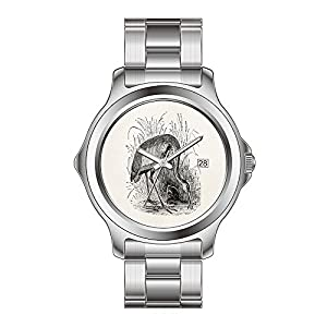 FYD Watch Man's Fashion Stainless Steel Band Watch Vintage Heron Bird Personalized Tropical Birds Wristwatches