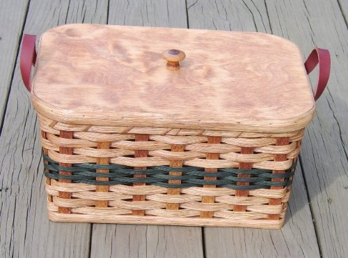 Amish Handmade Rectangular Knitting/Sewing Basket