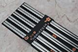 3 River 10 pc Chopstick Stainless Steel Chopsticks 5 Pairs spiral