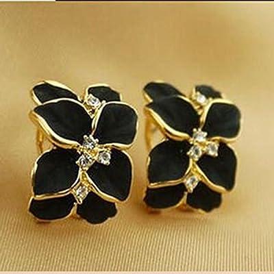 HuntGold 1 Pair Girl's Cute Gardenia Flower Crystal Rhinestone Ear Hoop Buckle Ear Stud(black)