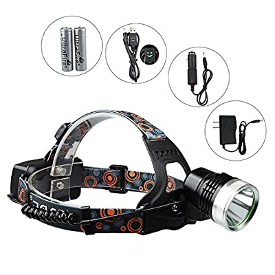 1800 Lumens 5 Modes CREE XM-L L2 Bulb LED Headlamp Headlight, Hands-free Flashlight, Waterproof Rechargeable, for Camping Hiking Fishing Morning Running Night Walking BBQ, Also Be Used as USB Power Bank