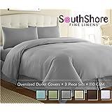 Southshore Fine Linens® Aspen Springs - 3 Piece Oversized Duvet Cover Set - STEEL GRAY - FULL / QUEEN