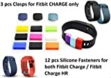 The DigiHero 12 pcs Silicone Fasteners for FITBIT Charge/FITBIT Charge HR Wristband AND 3pcs Clasps (Black,Blue,Slate) for Fitbit Charge Wristband ONLY (12 pcs+3 pcs)