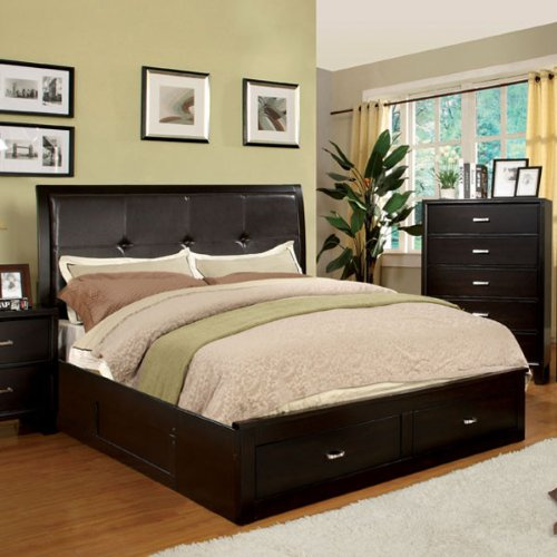 Amazing Atkinson Traditional Cottage Style Espresso Finish Queen Size Bed Frame Set