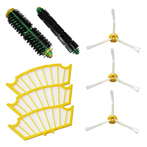 Shp-Zone Bristle Brush & Flexible Beater Brush & Side Brush 3-Armed & Filters Pack Kit For Irobot Roomba 500 Series Roomba 510, 530, 535, 536, 540, 550, 551, 552, 560, 564, 570, 580, 610 Vacuum Cleaning Robots All Green, Red, Black Cleaning Head