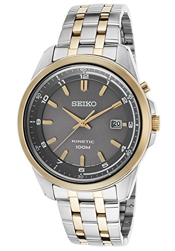 Seiko Men'S Kinetic Two-Tone Steel Grey Dial