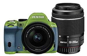 Pentax K-50 16MP Digital SLR DAL18-55mmWR, DAL50-200mmWR WZOOM KIT GREEN/AQUA 037