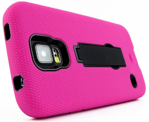 Mylife Rose Pink And Dark Midnight Black - Shock Suit Survivor Series (Built In Kickstand + Easy Grip Silicone) 3 Piece + 2 Layer Case For New Galaxy S5 (5G) Smartphone By Samsung (External Flex Silicone Bumper Gel + Internal 2 Piece Rubberized Snap Fitte