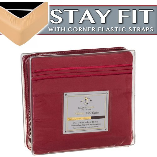 Clara Clark 1800 Series Bed Sheet Sets - Stay Fit On Mattress With Elastic Straps At Corners - Queen, Burgundy Red