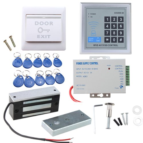 Image® Full Set Rfid Door Access Control System Kit With 60Kg 130Lbs Electric Magnetic Lock 110-240V Ac To 12V Dc 3A 36W Power Supply Proximity Door Entry Keypad 10 Key Fobs Exit Button front-631972