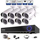ISEEUSEE Weatherproof 8 Channel HD DVR Video Recording System HDMI Output 8 x 1500TVL Outdoor Night Vision 1080P Bullet Cameras Free APP CCTV Home Security Surveillance Kits Hard Drive Not Included