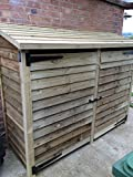 HEAVY DUTY 6 FT TALL EXTRA LARGE DOUBLE BAY WOODEN LOG STORE/GARDEN STORAGE UNIT WITH DOORS (8ft x 2.5FT x 6ft)