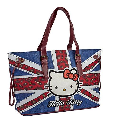 Hello Kitty 45325 - Borsa Donna A Spalla Fantasia Bandiera Inghilterra E Borchie In Metallo