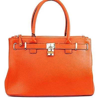 "Designer Inspired ""Hermes Birkin Looking"" Pad Lock Solid Color Structured Tote Handbag"