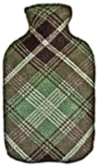Warm Tradition Olive Plaid Fleece Covered Hot Water Bottle -Bottle made in Germany, Cover made in USA