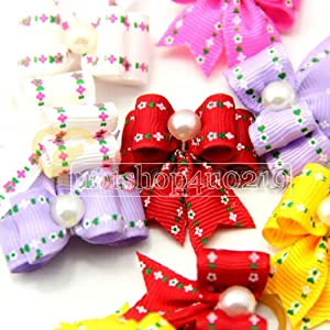 10 Pieces Dog Cat Puppy Japanese Version of Rubber Band Hair Bow Wholesale Lots of Headdress Flower Pets Gift