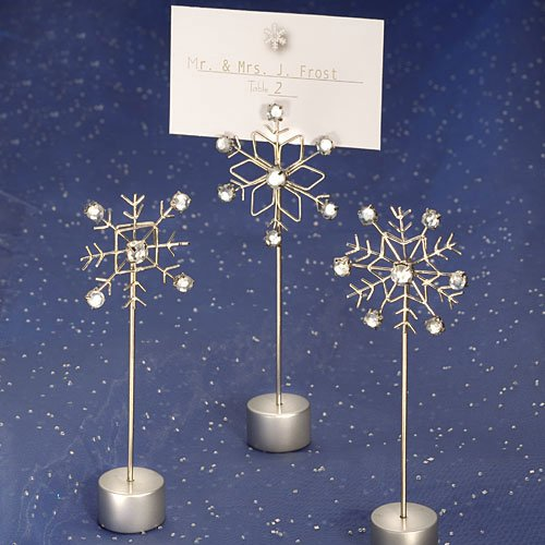 Snowflake design place card holders (Set of 6) - Wedding Party Favors