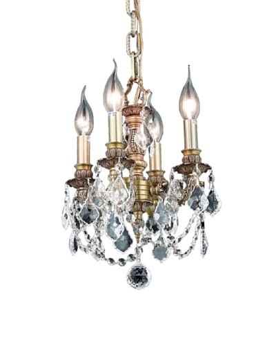 Crystal Lighting Lillie 4-Light Mini Chandelier, French Gold