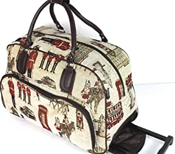 london palace designer beige canvas wheeled travel trolley bag wheeled holdall overnight bag gym. Black Bedroom Furniture Sets. Home Design Ideas
