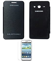 TBZ Premium Flip Cover Case -Black for Samsung Galaxy Core 2 with Screen Guard