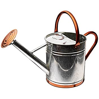 Gardman 8330 Galvanized Watering Can with Copper Accents,1.9 Gallon