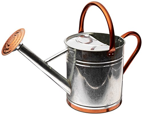 Gardman 8330 Galvanized Watering Can with Copper Accents,1.9 Gallon 0