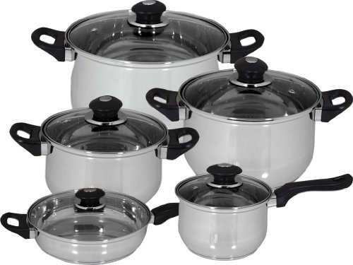 Magefesa 01BXFAMILY10 10-Piece Family Stainless Steel Cookware Set