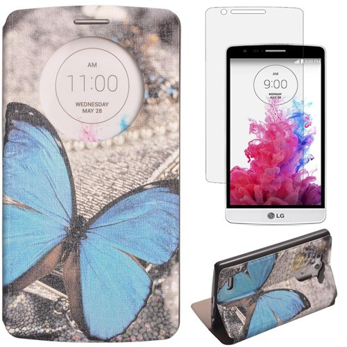 Semoss Window View Retro Farfalla Custodia in Pelle per LG G3 PU Portafoglio Flip Cover con Funzione Supporto Cuoio Case Cover + Protezione Schermo