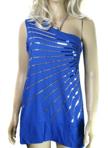 Ladies Plus Size 20 - 22 Fabulous Cobalt Blue On shoulder sequin Women's Party top