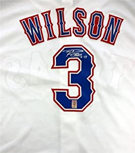 Russell Wilson Autographed Hand Signed Texas Rangers Majestic White Jersey RW Holo by Hall of Fame Memorabilia