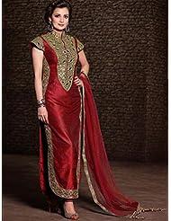UFS Women's Red Banglori Silk Semi Stitched Anarkali Dress Salwar Suit