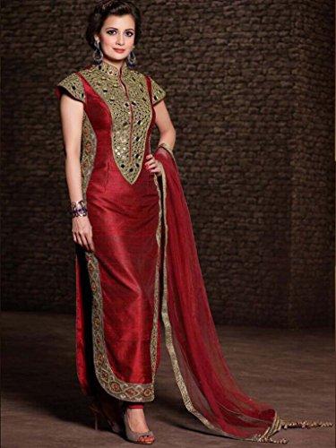 UFS Women s Blue White Soft Net Semi Stitched Anarkali Dress Salwar ... b2ef21246