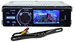 Package: JVC KD-AV300 In-Dash Single Din Car DVD/CD Receiver With 3 Display iPhone 2-Way control USB/AUX and A Wireless Remote + Rockville RBC5B Black Rearview Backup License Plate Bar Camera With Adjustable 170 Degree Wide Angle Lens