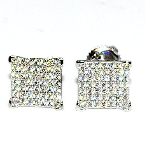 Fashion Earrings For Men 10Mm Wide Cubic Zarcon Pave Set Screw Back Silver