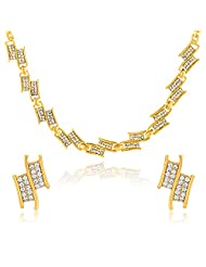 Oviya Gold Plated Understated Elegance Necklace Set With Crystals For Women NL2103189G