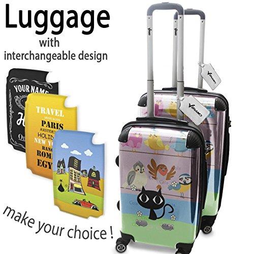 Candy World Gatti e Uccelli, Set da 2 Luggage Valigia Bagaglio Ultraleggero Trasportabile Rigido 4 Route Adatto con Disegno Colorato. Dimensione: Formato Cabina S, M