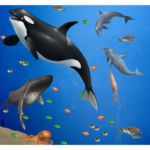 Sea Wall Mural for Kids Rooms Large Peel & Stick Ocean Animal LifeWall Sticker Decals