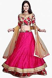 Silk Net and Bhagalpuri Party Wear Lehenga Choli in Pink Colour